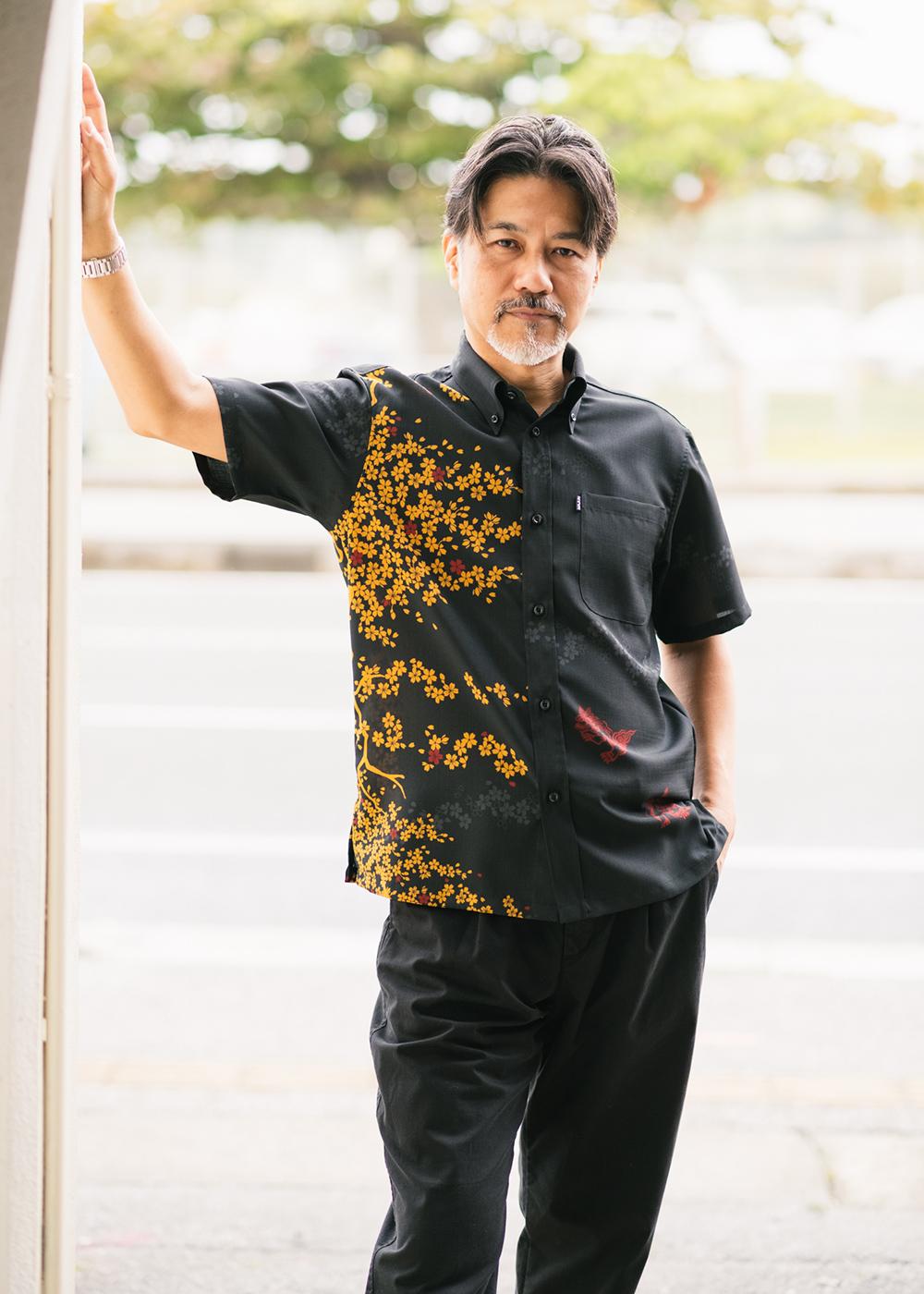 かりゆしウェア(沖縄版アロハシャツ) MAJUN - 桜にシーサー