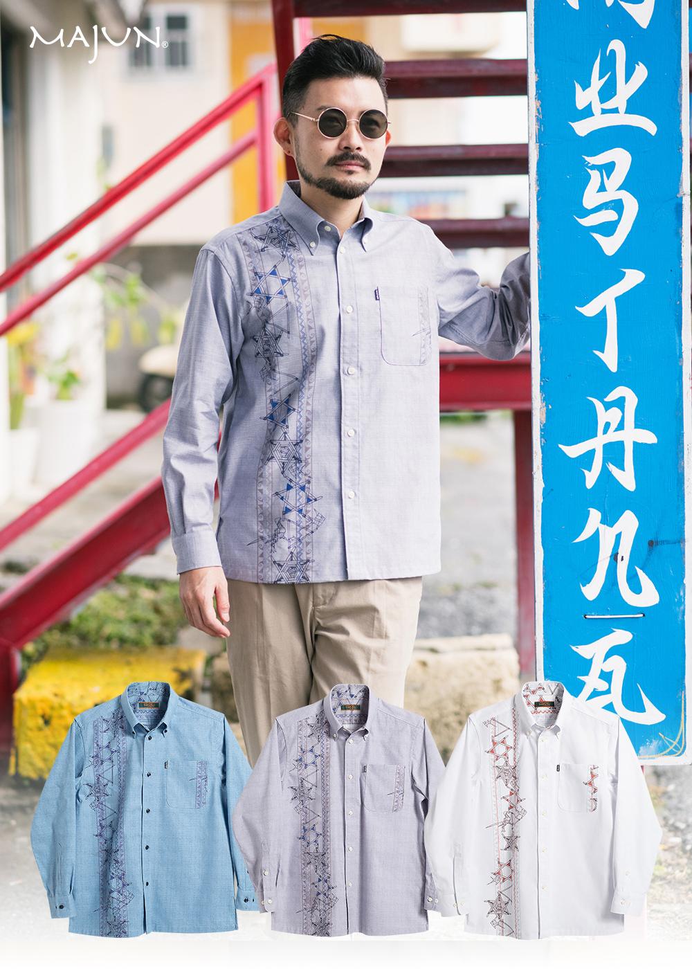 かりゆしウェア(沖縄版アロハシャツ) MAJUN - レトロスピリッツL/S