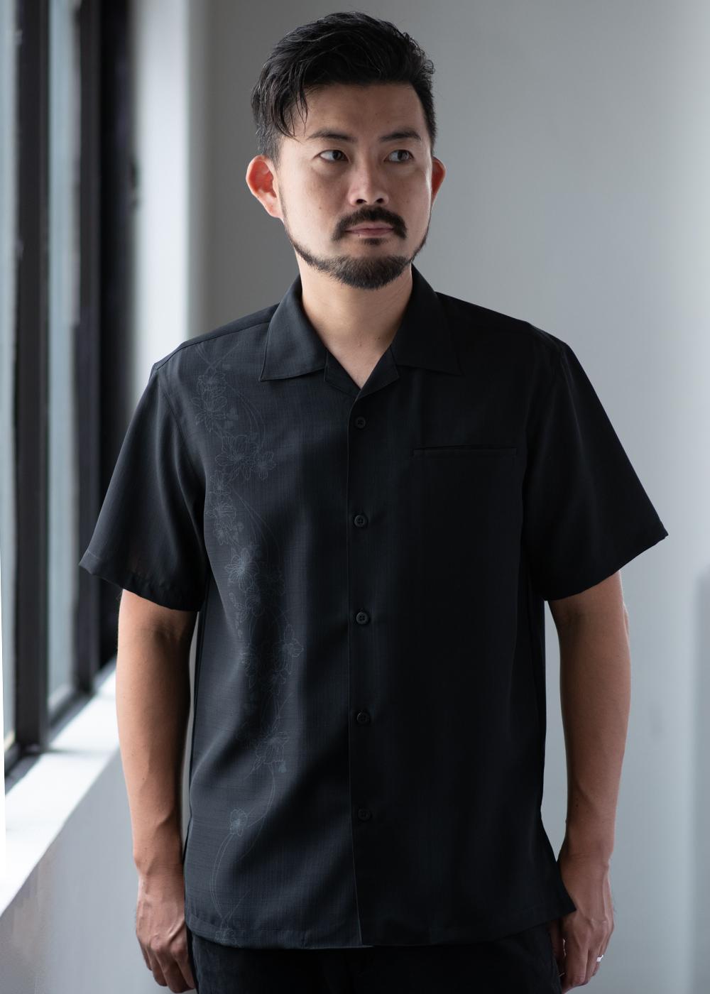 かりゆしウェア(沖縄版アロハシャツ) MAJUN - はるみつつじ(開襟)
