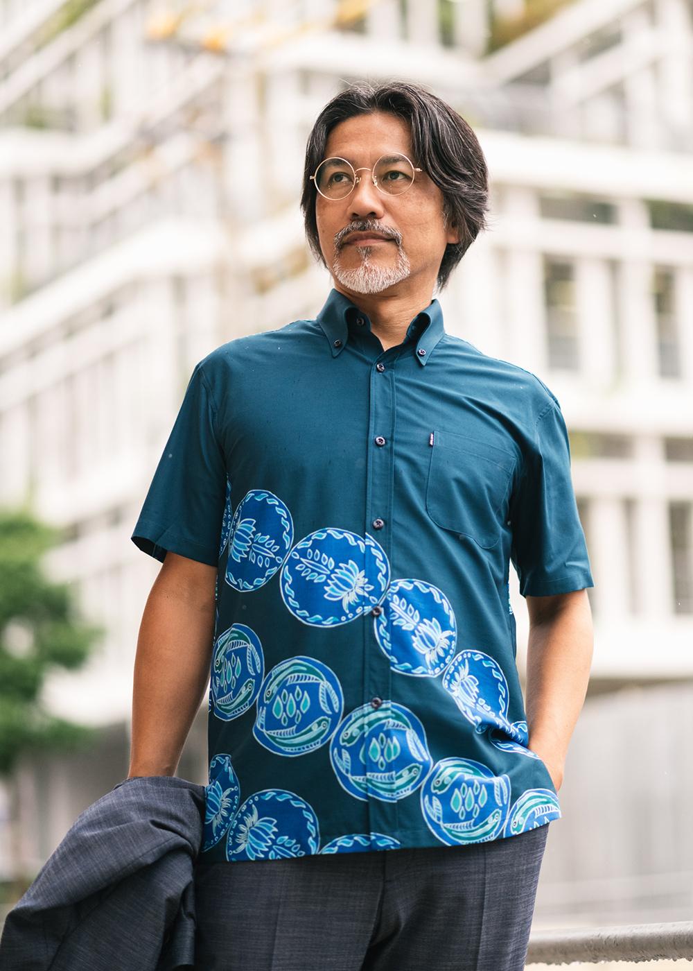 かりゆしウェア(沖縄版アロハシャツ) MAJUN - 波