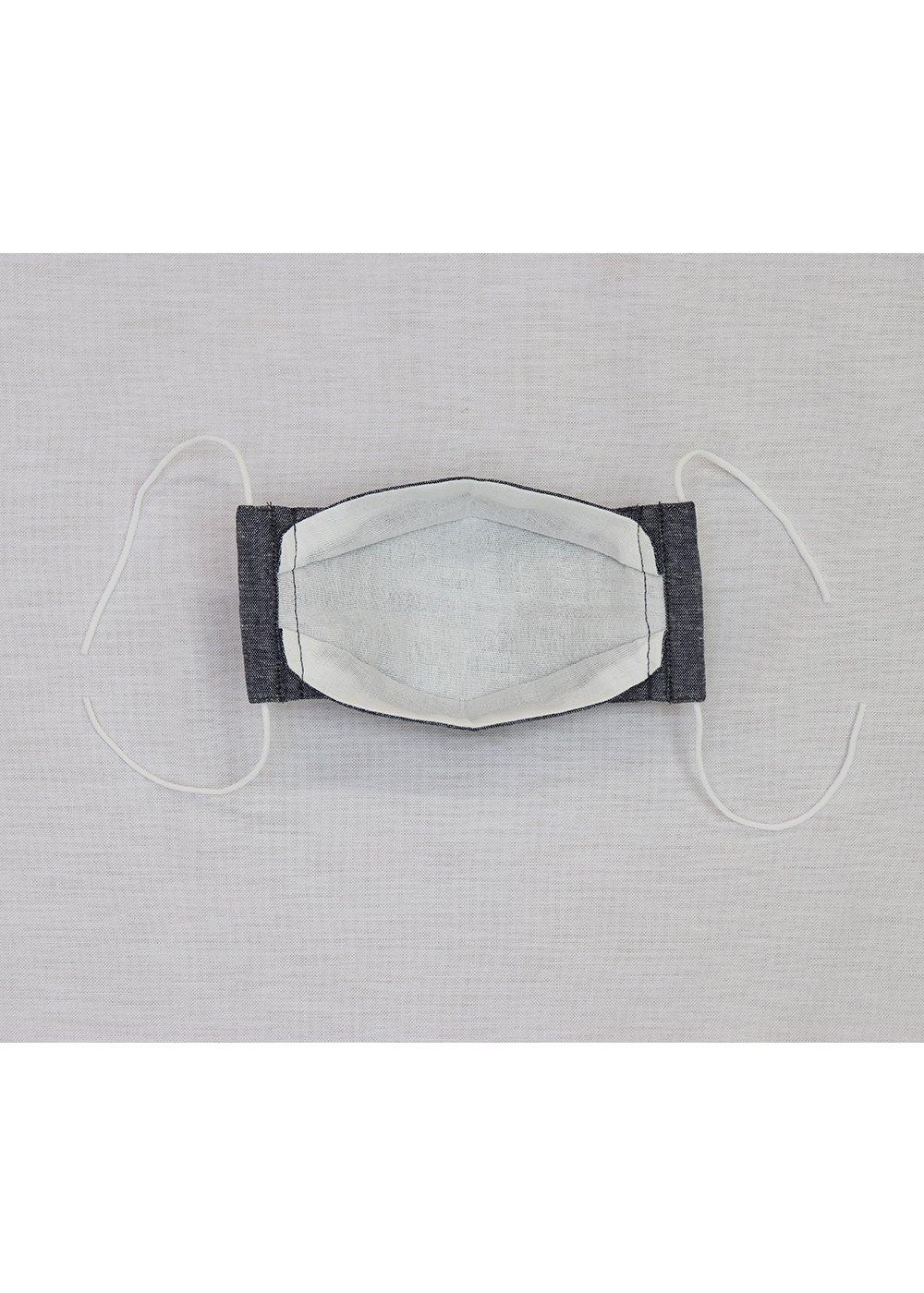 かりゆしウェア(沖縄版アロハシャツ) MAJUN - キッズダンガリー布マスク(XS)