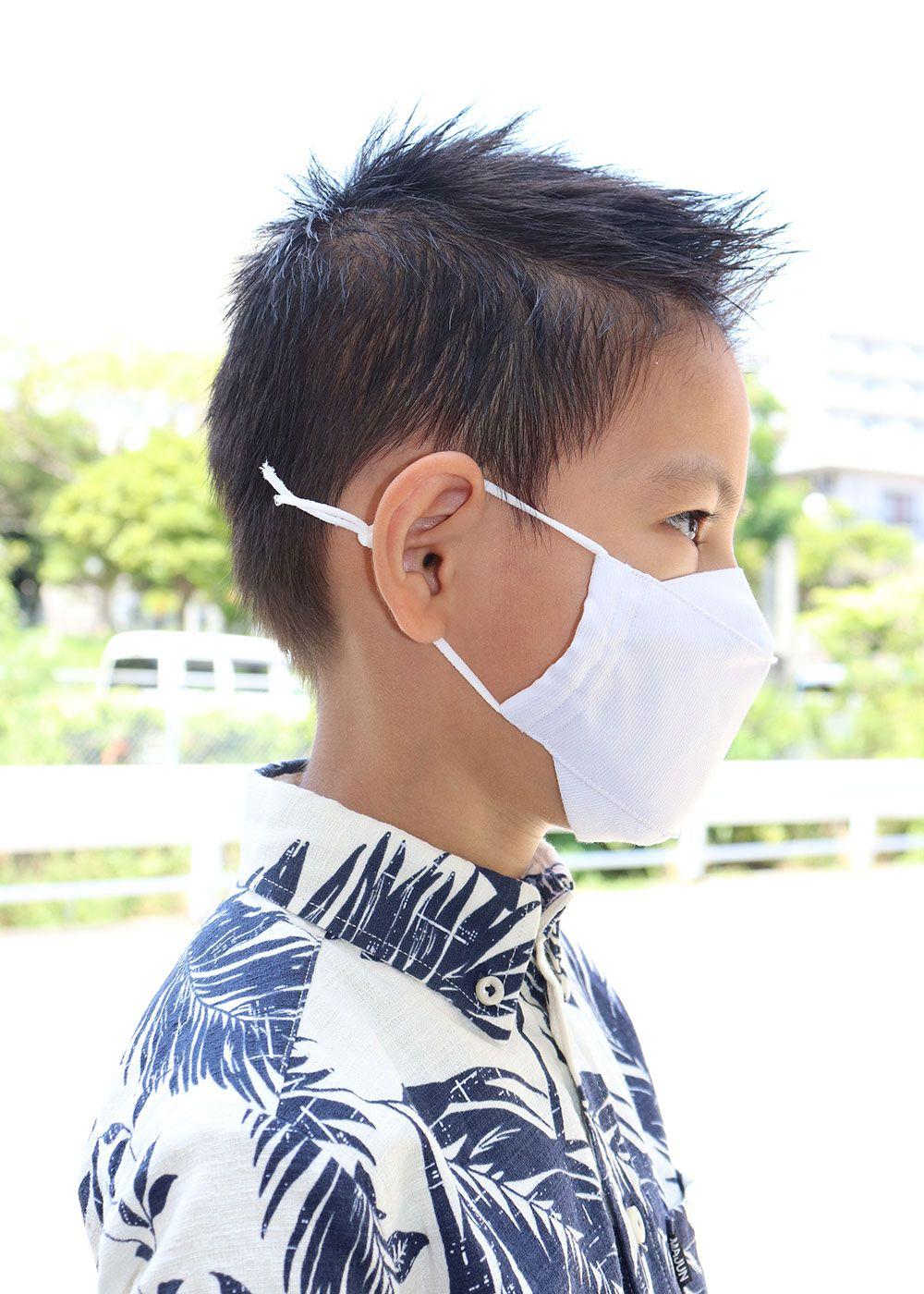 かりゆしウェア(沖縄版アロハシャツ) MAJUN - キッズ夏用布マスク無地タイプ(XS)