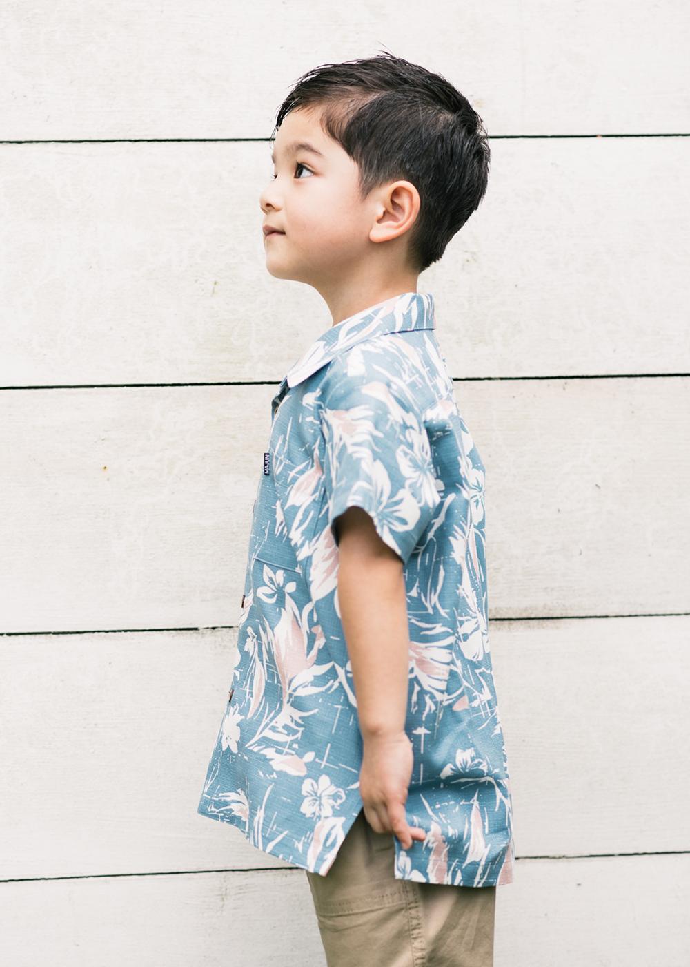 かりゆしウェア(沖縄版アロハシャツ) MAJUN - ミッドサマーブーケ(キッズシャツ)