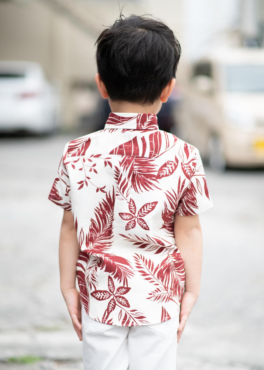 かりゆしウェア(沖縄版アロハシャツ) MAJUN - リーフクインテット(キッズシャツ)