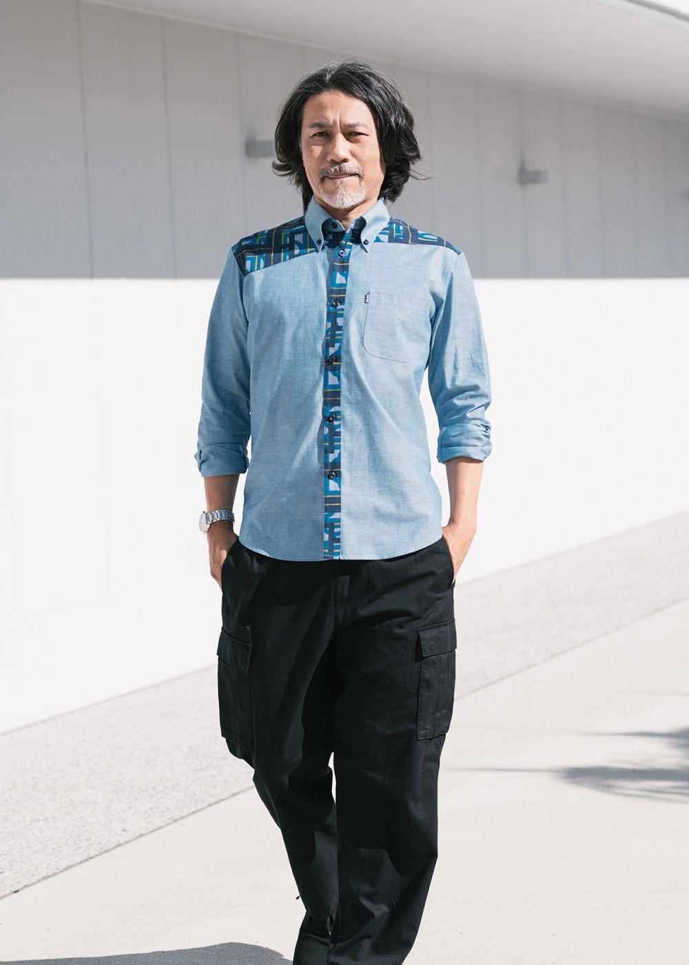 かりゆしウェア(沖縄版アロハシャツ) MAJUN - ブロックダンガリーL/S