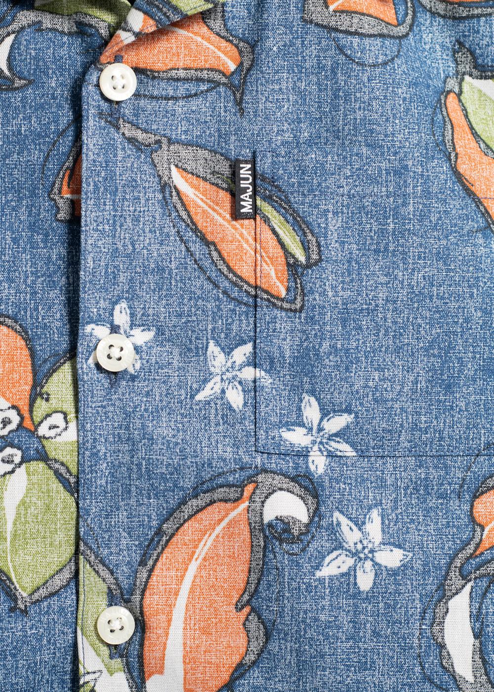 かりゆしウェア(沖縄版アロハシャツ) MAJUN - ペイントフラワー(キッズシャツ)