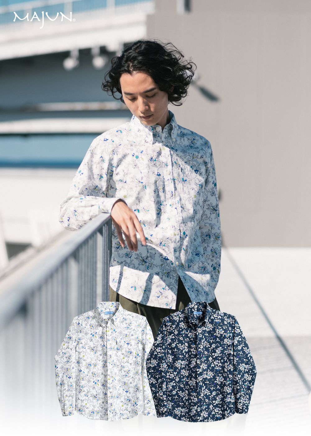 かりゆしウェア(沖縄版アロハシャツ) MAJUN - クラシカルリングL/S