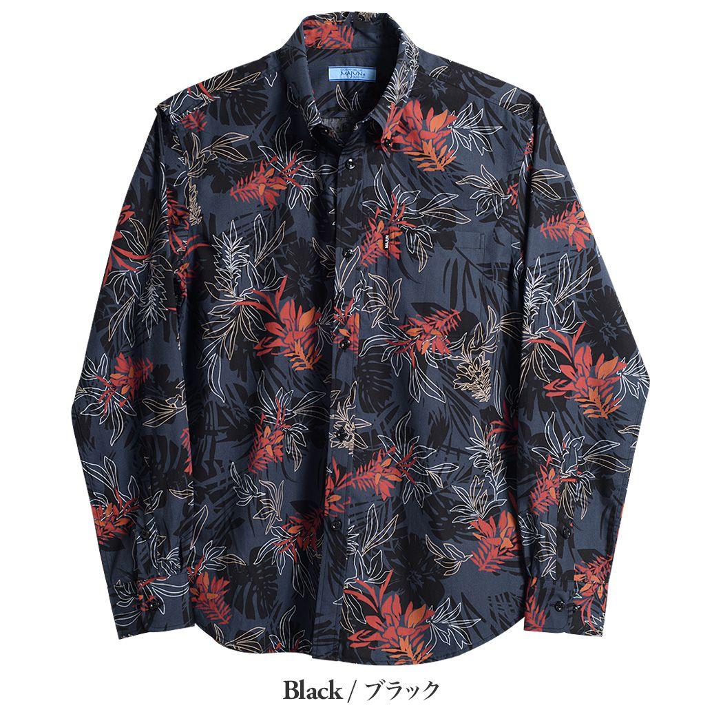 かりゆしウェア(沖縄版アロハシャツ) MAJUN - デイゴフラッターL/S