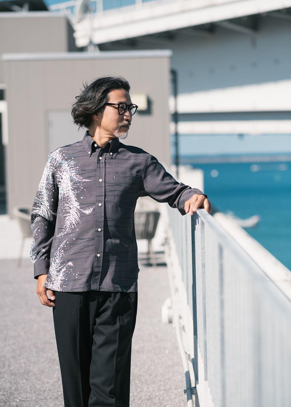 かりゆしウェア(沖縄版アロハシャツ) MAJUN - トレックラッシュL/S