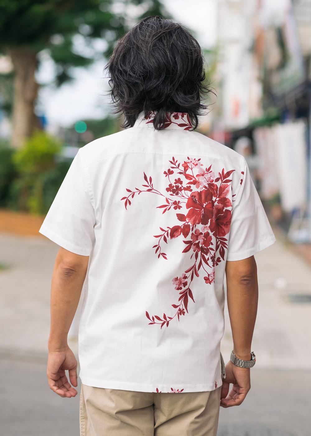 かりゆしウェア(沖縄版アロハシャツ) MAJUN - 水彩ハイビスカス