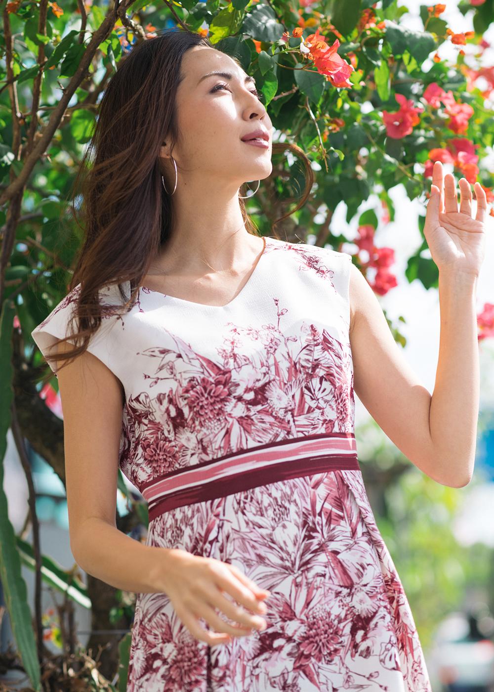 かりゆしウェア(沖縄版アロハシャツ) MAJUN - ラグジュアリーパネル(ワンピース)