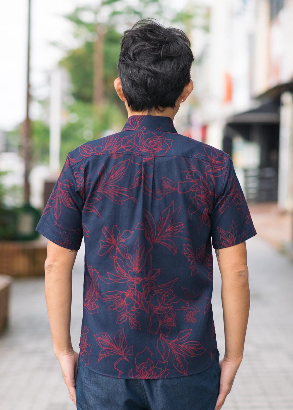 かりゆしウェア(沖縄版アロハシャツ) MAJUN - ガーデニアライン