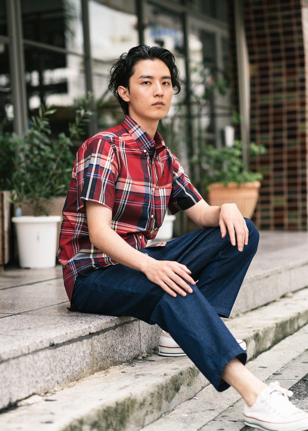 かりゆしウェア(沖縄版アロハシャツ) MAJUN - マドラスチェックカチャーシー