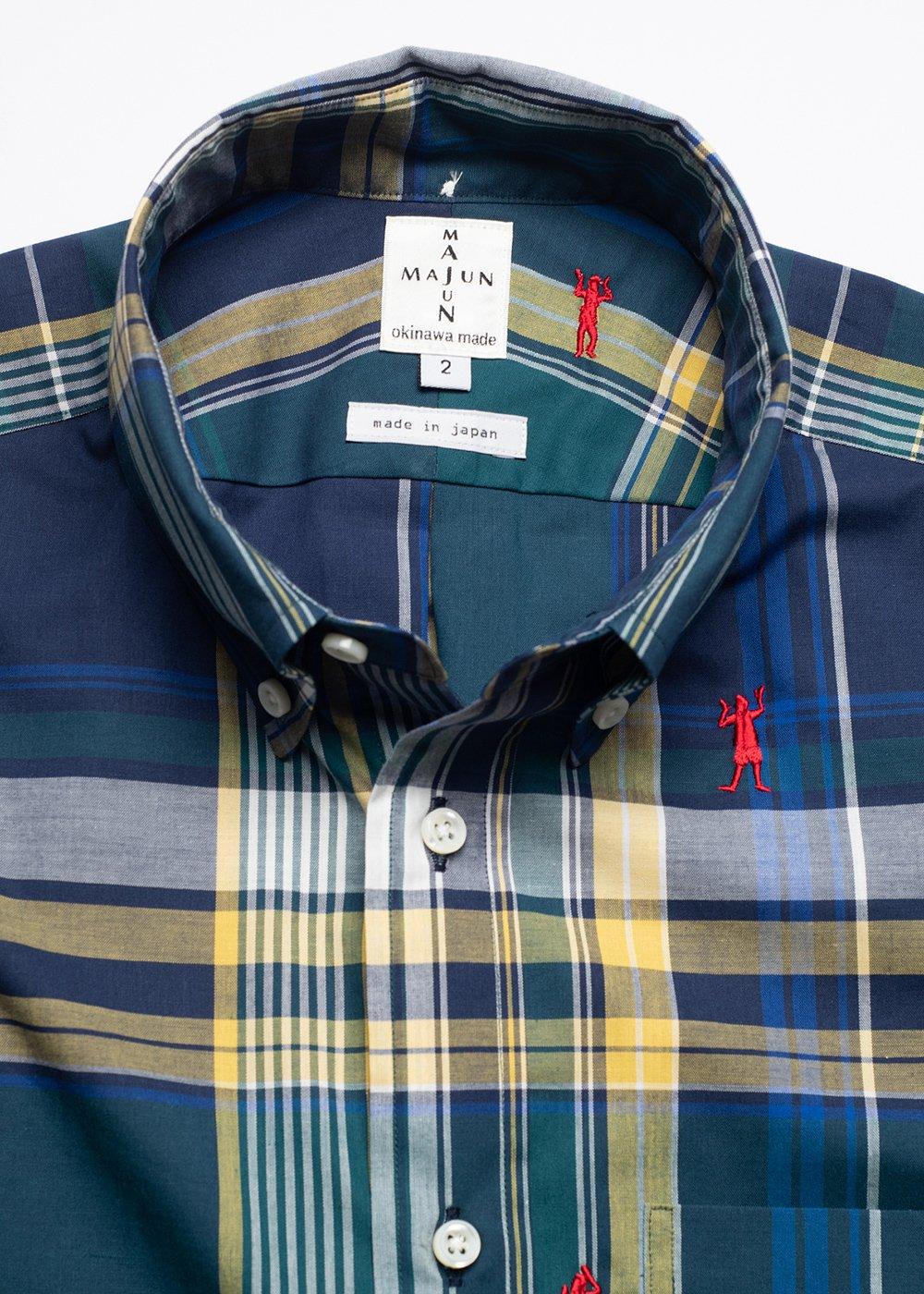 かりゆしウェア(沖縄版アロハシャツ) MAJUN - マドラスチェックカチャーシー L/S