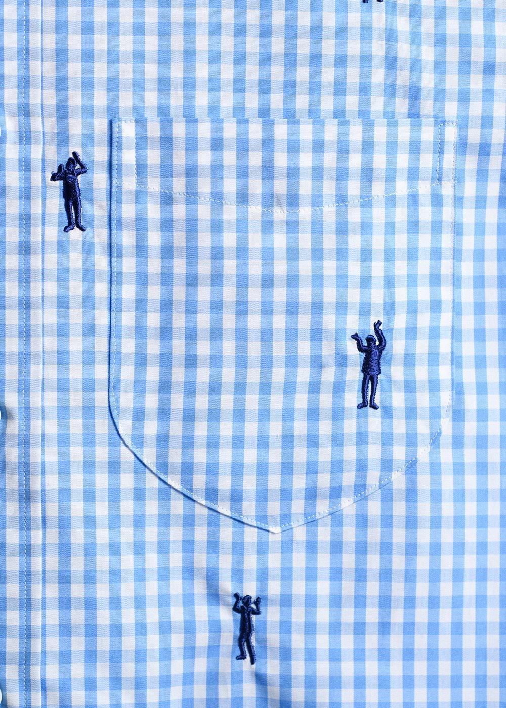 かりゆしウェア(沖縄版アロハシャツ) MAJUN - ギンガムチェックカチャーシー