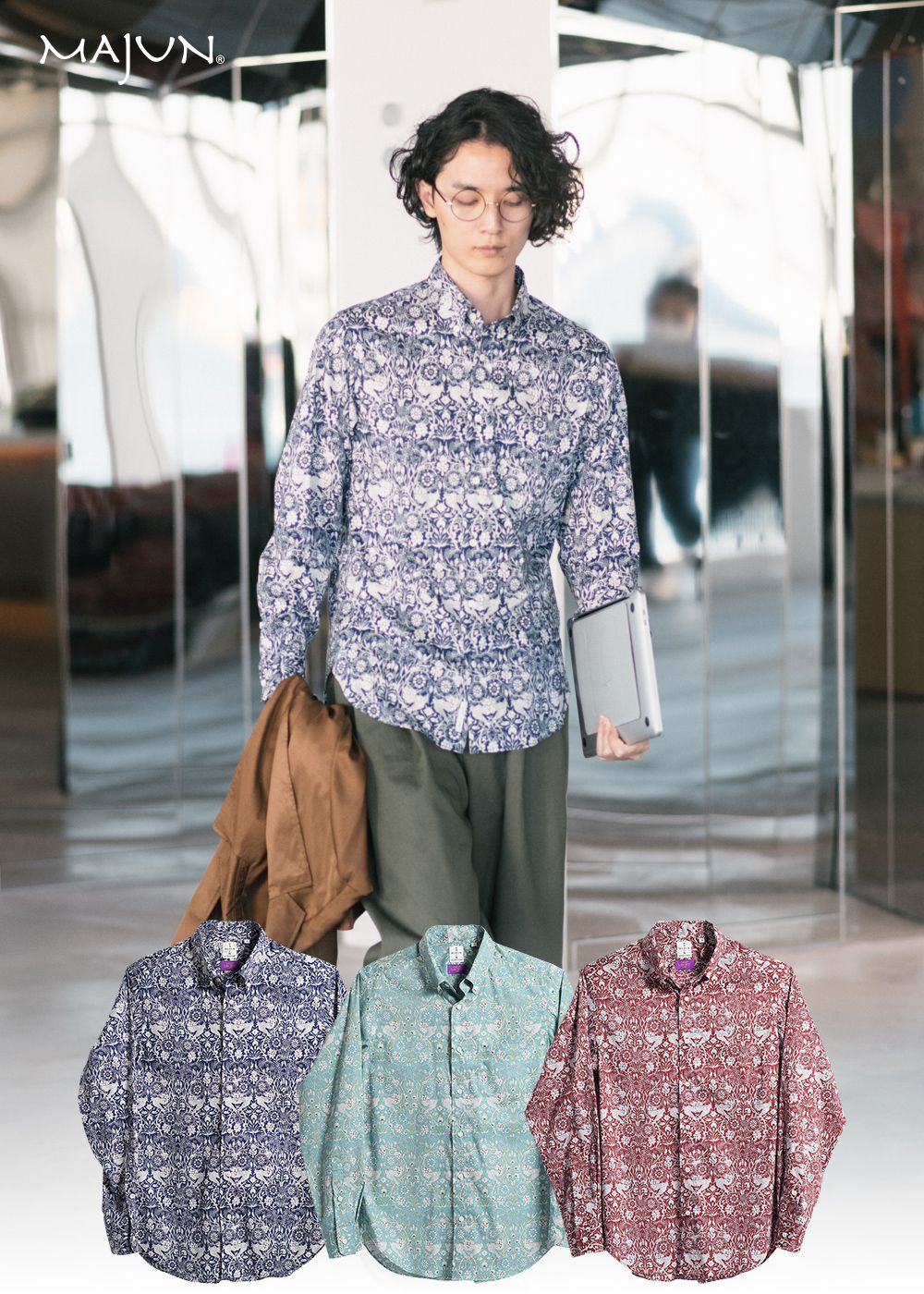 かりゆしウェア(沖縄版アロハシャツ) MAJUN - ジャックス・リュウキュウ・フローラル L/S