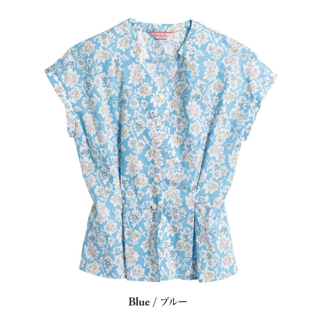 かりゆしウェア(沖縄版アロハシャツ) MAJUN - コントラストフラワー(ブラウス)