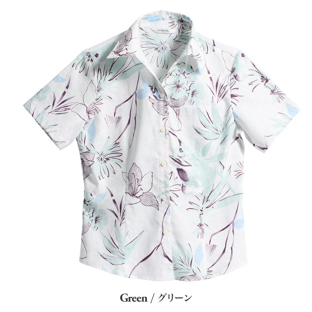 かりゆしウェア(沖縄版アロハシャツ) MAJUN - エレガンスフローラル