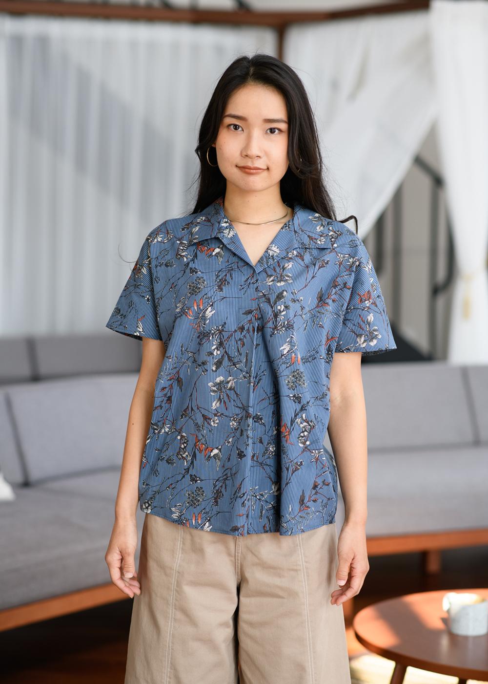 かりゆしウェア(沖縄版アロハシャツ) MAJUN - ストライプウインド