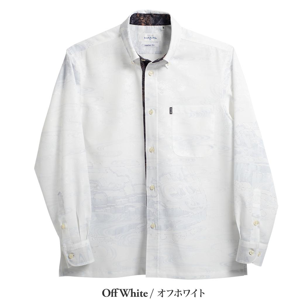 かりゆしウェア(沖縄版アロハシャツ) MAJUN - 琉球海底地形L/S