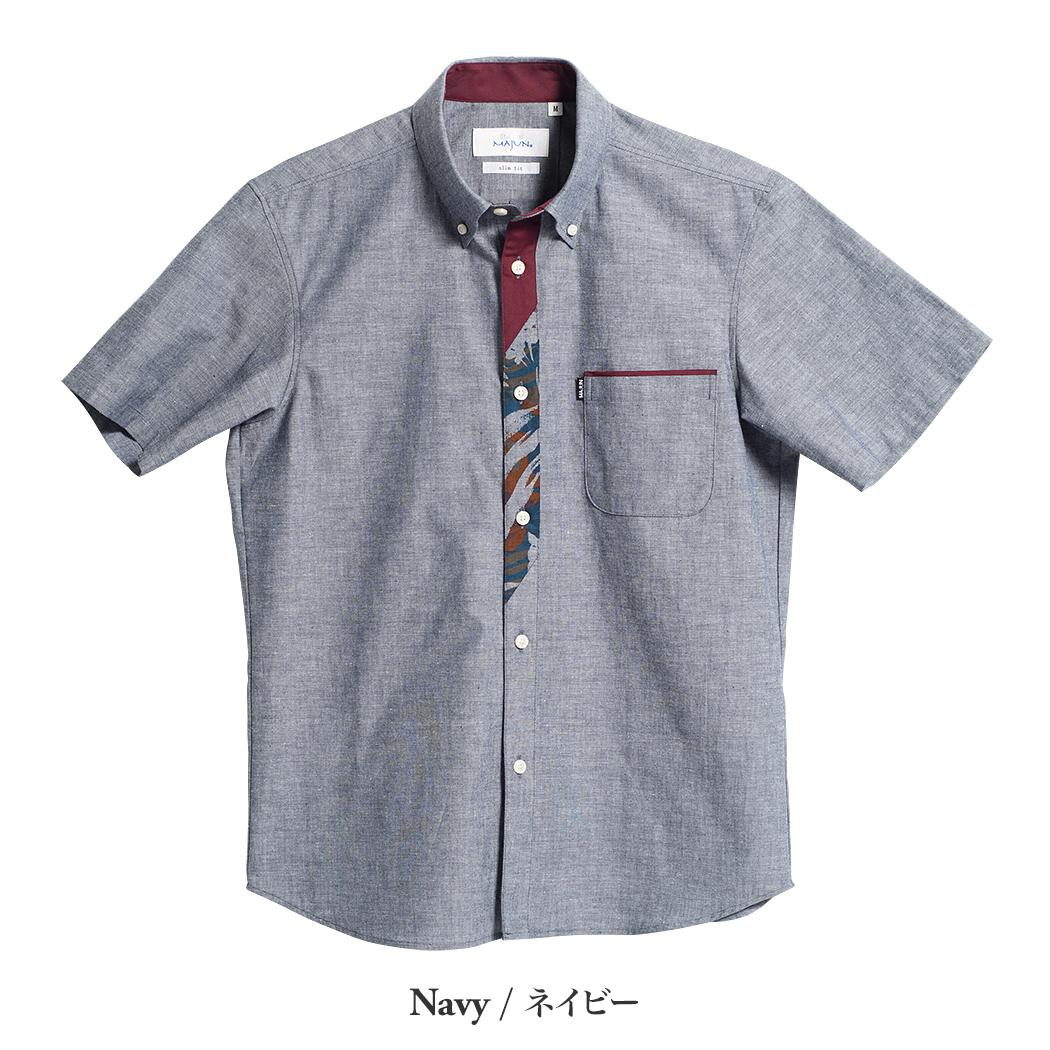 かりゆしウェア(沖縄版アロハシャツ) MAJUN - ブルームダンガリー