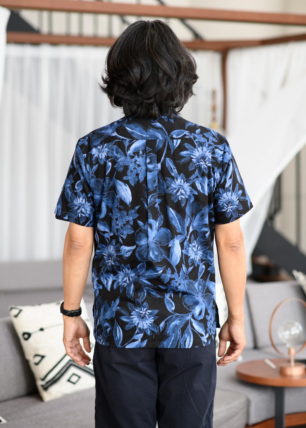かりゆしウェア(沖縄版アロハシャツ) MAJUN - ダークメルトフラワー