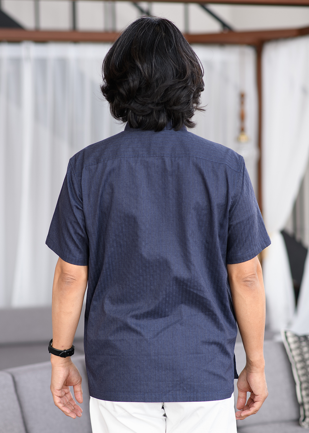 かりゆしウェア(沖縄版アロハシャツ) MAJUN - ストライプクイナ