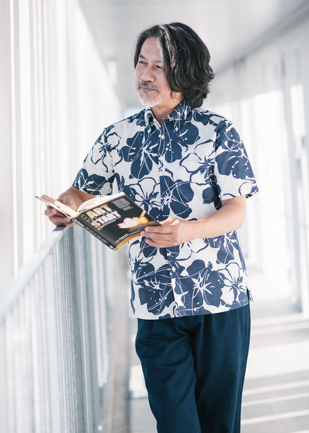かりゆしウェア(沖縄版アロハシャツ) MAJUN - シルエットハイビ