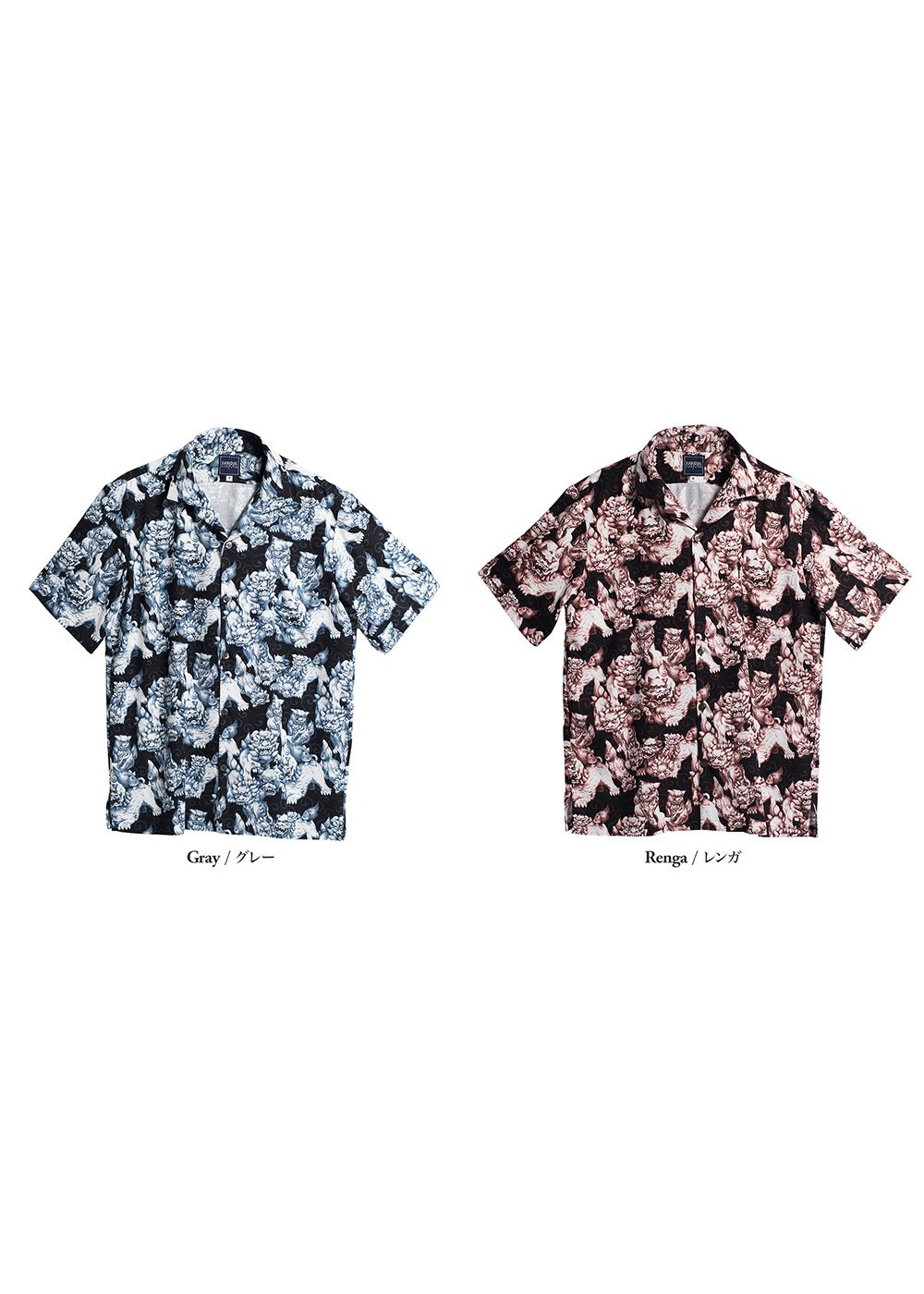 かりゆしウェア(沖縄版アロハシャツ) MAJUN - 百シーサー