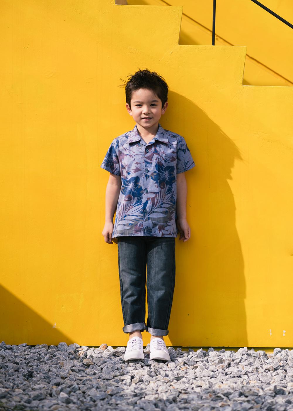 かりゆしウェア(沖縄版アロハシャツ) MAJUN - フロートブルーム(キッズシャツ)